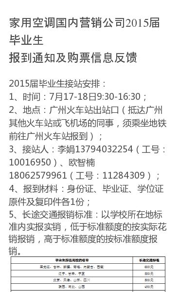 2015届毕业生接站安排:1、时间:7月17-18日9:30-16:30;2、地点:广州火车站出站口(抵达广州其他火车站或飞机场的同事,须乘坐地铁前往广州火车站报到);3、接站人:李娟13794032254(工号:10016950)、欧智楠18062579961(工号:11284309);4、报到材料:身份证、毕业证、…